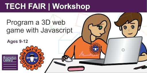 Tech Fair Workshop |  Program a 3D Game with Javascript (Ages 9-12)
