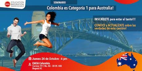 Colombia es Categoría 1 para Australia entradas