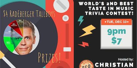 "Christian Finnegan's ""World's 2nd Best Taste in Music"" Trivia Contest tickets"