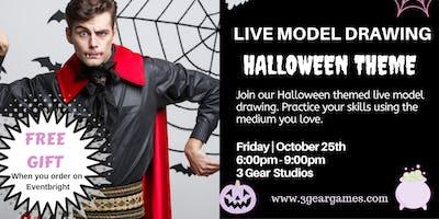 Halloween Live  Model Drawing