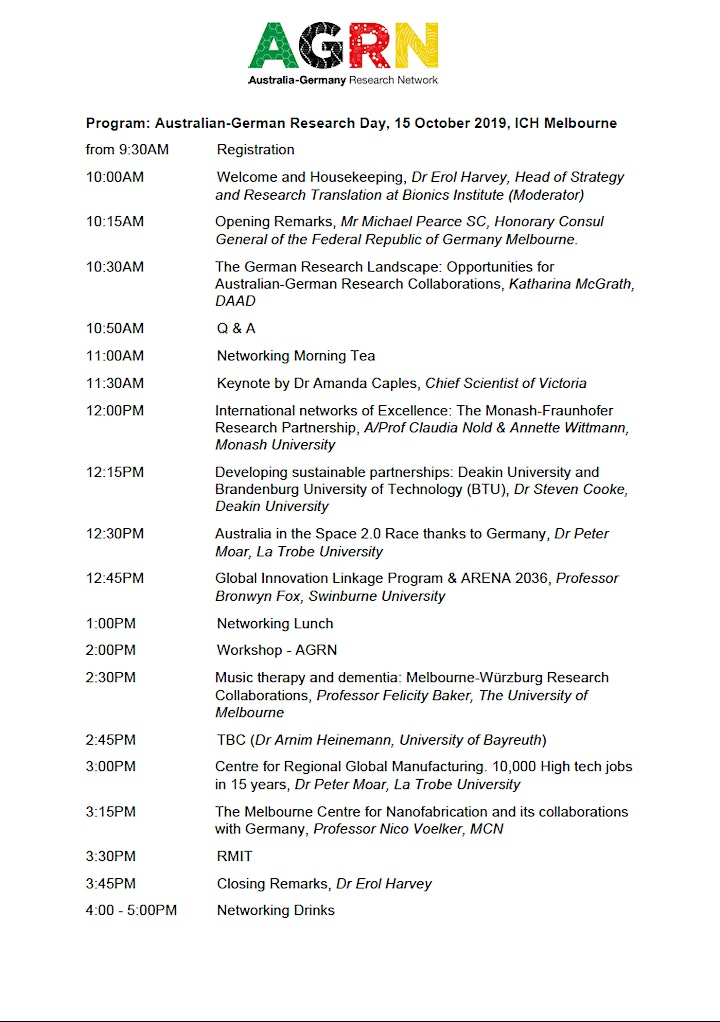 Australian-German Research Day 2019, Melbourne image