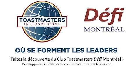 Club Toastmasters Défi Montréal - Portes Ouvertes lundi 28 octobre 2019 billets