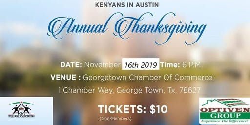 Kenyans in  Austin (KIA) Welfare Thanksgiving Banq