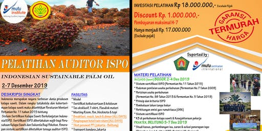 Pelatihan Auditor ISPO Bulan November Desember 2019