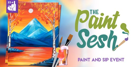 """Paint Night in Downtown Riverside, CA – """"Autumn Lake"""""""