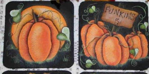 Fall PaintNight Pumpkin Coasters