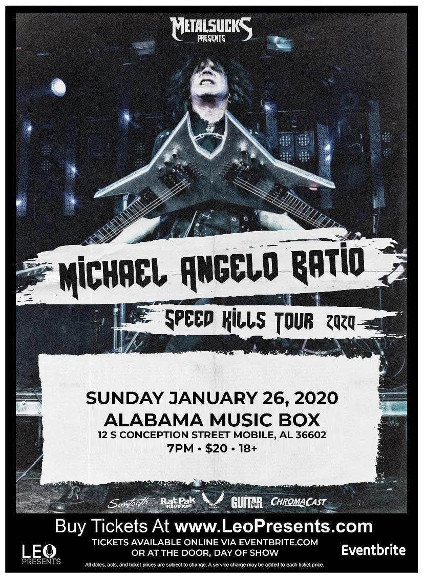 Alabama Tour 2020.Michael Angelo Batio Speed Kills Tour 2020 At Alabama