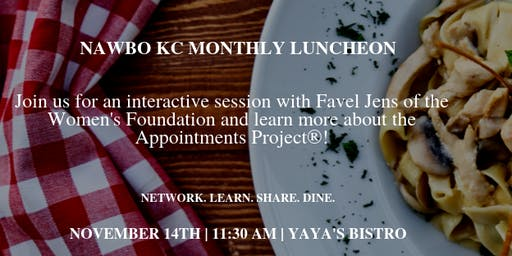 NAWBO KC Lunch with Favel Jens, Women's Foundation - The Appointments Project