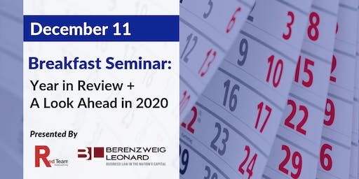 Breakfast Seminar: Year in Review +  A Look Ahead in 2020