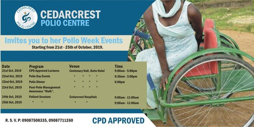 Cedarcrest Polio Week Event - An Invitation to a CPD approved lecture