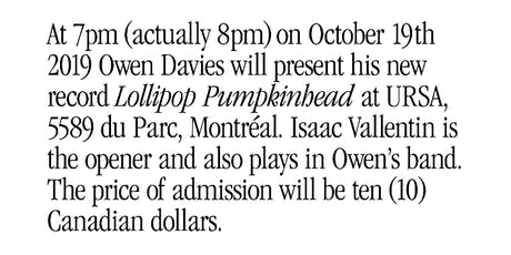 OWEN DAVIES tickets