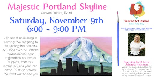 Majestic Portland Skyline Canvas Painting Event