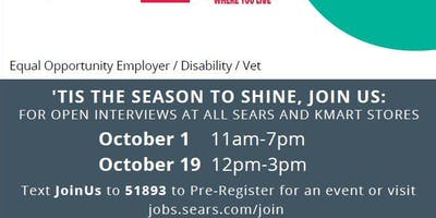 Sears in Lafayette LA National Day of Hiring 10/19 from 12pm-3pm