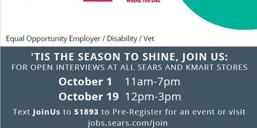 Sears National Day of Hiring Laredo TX-10/19 from 12pm-3pm