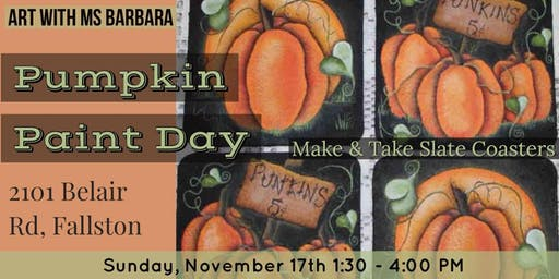 Art to Soul Galleria's Slate Coaster Pumpkin Paint Day with Ms Barbara