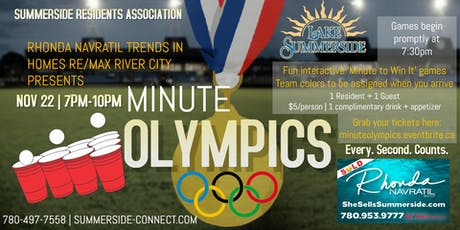 Minute Olympics brought to you by Rhonda Navratil Trends in Homes RE/MAX River City tickets