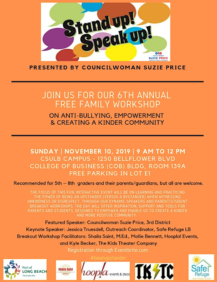 Councilwoman Suzie Price's FREE Family Workshop on Anti-Bullying image