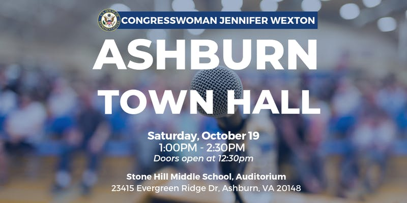 Rep. Jennifer Wexton Town Hall in Ashburn @ Stone Hill Middle School