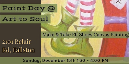 Art to Soul Galleria's Elf Shoes on Gift Canvas Paint Day with Ms Barbara