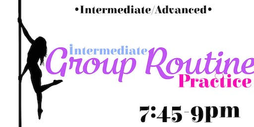 Intermediate group routine practice Monday 11/4–7:45-9pm