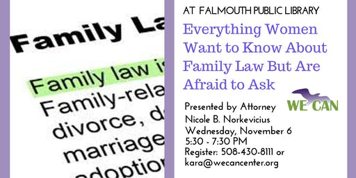 WE CAN Legal Workshop: Everything Women Want to Know About Family Law
