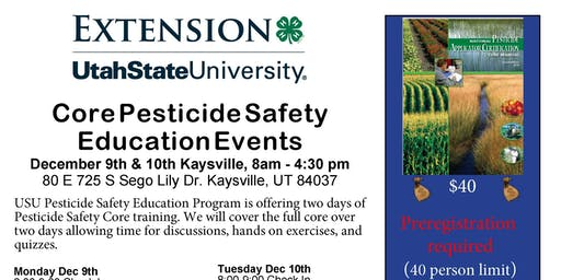2019 USU PSEP Core Pesticide Safety Education Event (DEC 9th only!)