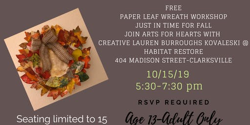 Paper Leaf Wreath with Arts for Hearts Creative Lauren Burroughs Kovaleski