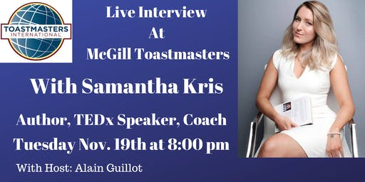 Live Interview with  Author, TEDx Speaker, Coach, Samantha Kris