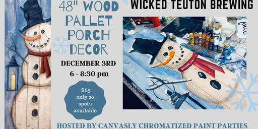 "48"" Snowman Pallet Porch Sign @ Wicked Teuton"