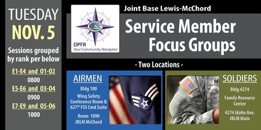 JBLM Service Member Focus Groups (IDA)
