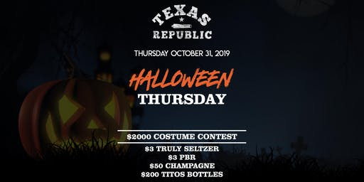 Halloween Bash in Fort Worth at Texas Republic - $2000 Costume Contest