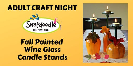 Fall Painted Wine Glass Candle Stands