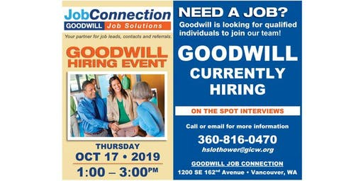 Goodwill is Hiring - Fisher's Landing, Vancouver - 10/17/19