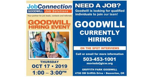 Goodwill is Hiring - Griffith Park - 10/17/19