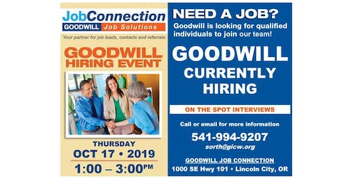 Goodwill is Hiring - Lincoln City - 10/17/19