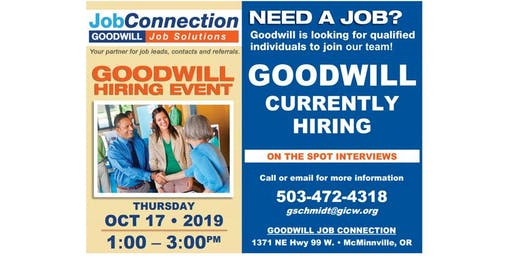 Goodwill is Hiring - McMinnville - 10/17/19