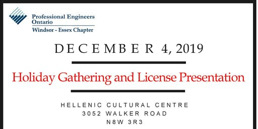 PEO Windsor-Essex Holiday Gathering and License Presentation 2019