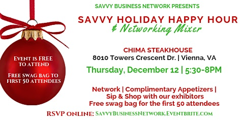 Savvy Holiday Happy Hour & Networking Mixer - Tysons