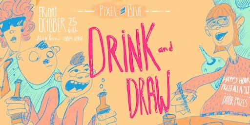 Pixel Blue College Drink & Draw