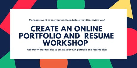Create an Online Portfolio and Resume Using WordPress Workshop tickets