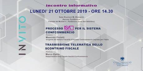 Evento informativo Processo ISA sistema Confcommercio e Scontrino fiscale  tickets
