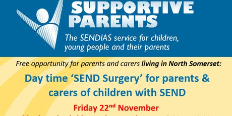 North Somerset SEND surgery, Friday 22nd November.  30-minute time slots tickets