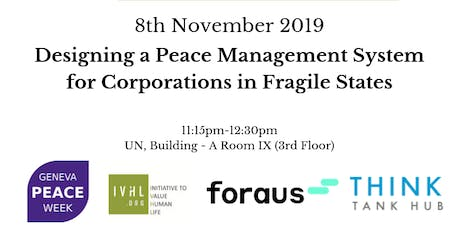 Designing a Peace Management System for Corporations in Fragile States tickets