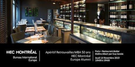 Apéritif Retrouvailles MBA 50 ans - HEC Montréal - 14 novembre 2019 à Paris billets