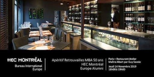 Apéritif Retrouvailles MBA 50 ans - HEC Montréal - 14 novembre 2019 à Paris