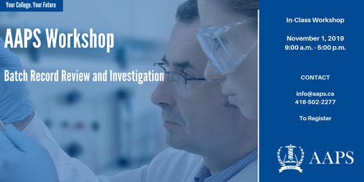 Batch Record Review and Investigation Workshop