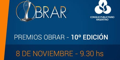 Premios Obrar, 10 ma. edición entradas