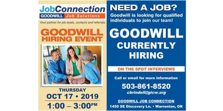 Goodwill is Hiring - Warrenton - 10/17/19 tickets