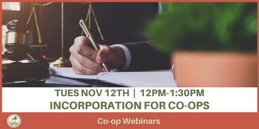 Incorporation for Co-ops Webinar