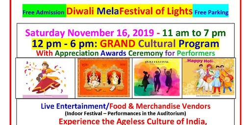 DIWALI MELA & CULTURAL PROGRAM  SATURDAY NOV 16, 2019 - FESTIVAL OF LIGHTS
